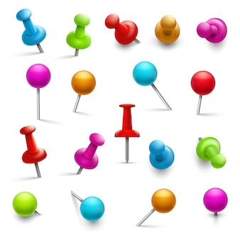 Thumbtack. 3d multicolored push pins for notice paper. pushpins isolated set