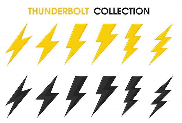 Thunder and bolt lighting flash vector collection set.