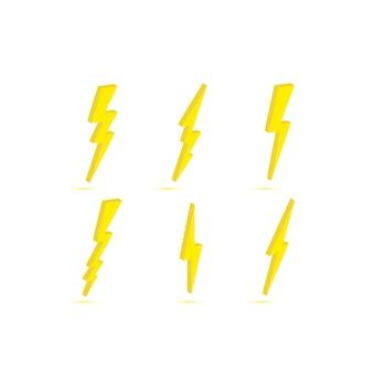 Thunder and bolt lightning. flash icon isolated