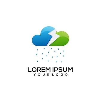 Thunder cloud colorful logo illustration
