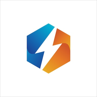 Thunder в шаблоне дизайна логотипа hexagon shape