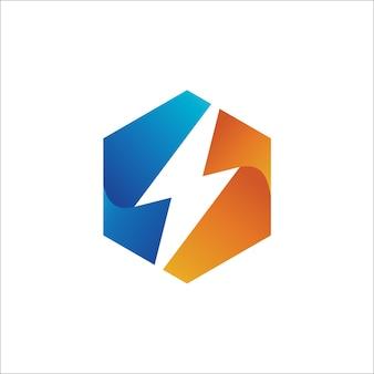 六角形ロゴデザインテンプレートの雷