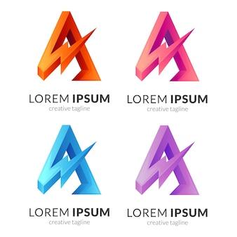 천둥 편지 a 로고 컨셉 템플릿 디자인 절연