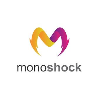 Шаблон логотипа thunder letter m