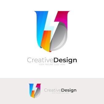 Гром логотип и буква u дизайн