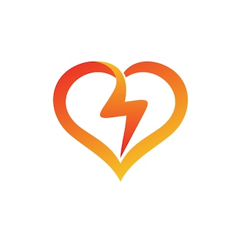 Thunder in love shape logo vector