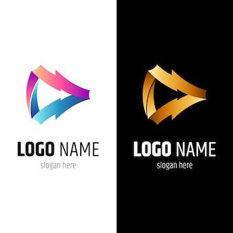 Thunder media play logo concept