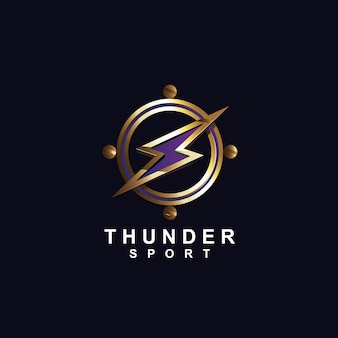 Thunder in metallic style logo design