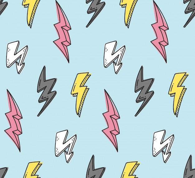 Thunder seamless pattern on blue
