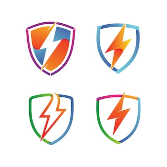 Thunder shield set logo vector