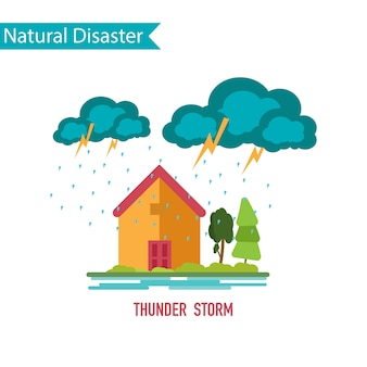 Thunder storm disaster in flat design concept