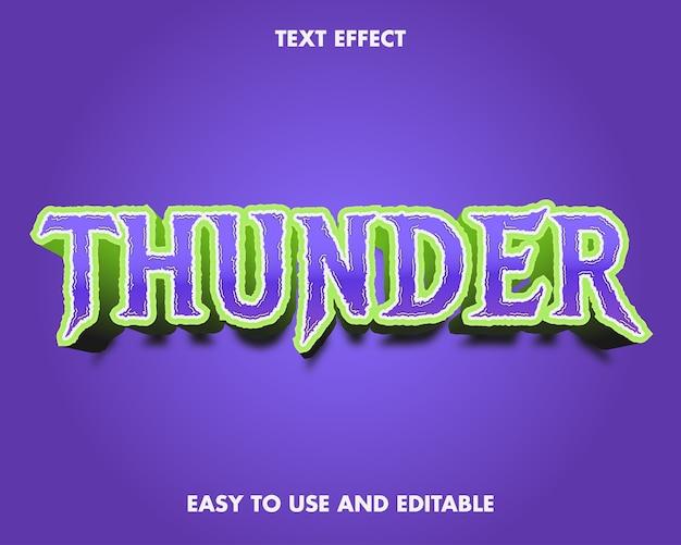 Текстовый эффект грома. редактируемый стиль шрифта.