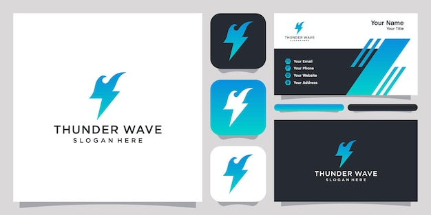 Thunder wave logo icon symbol template logo and business card