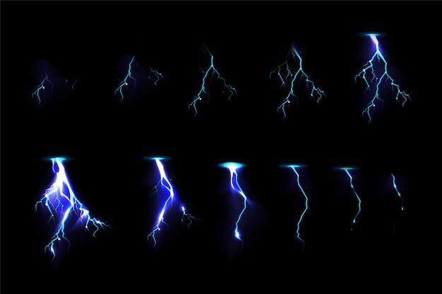 Набор ударов thunderbolt для анимации игровых эффектов