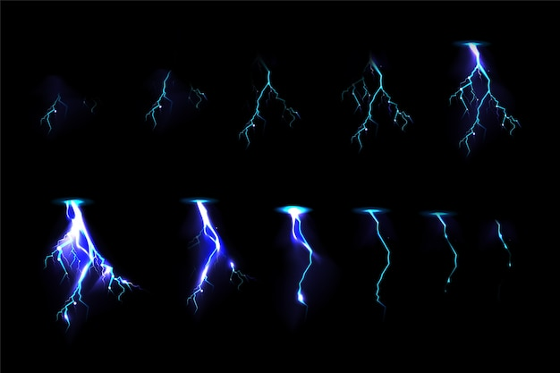 Thunderbolt strikes set for game fx animation
