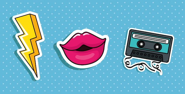 Thunderbolt with lips and cassette pop art styles