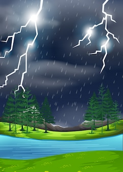 A thunderstorm in nature scene