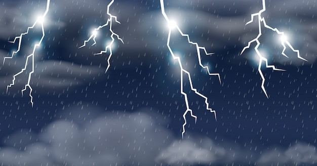 Thunderstorm on raining sky