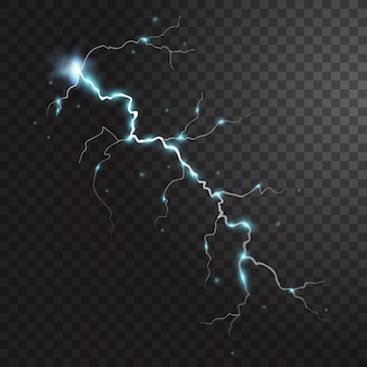 Thunderstorm realistic element with colored flashes of lightnings sparks on black half transparent background isolated