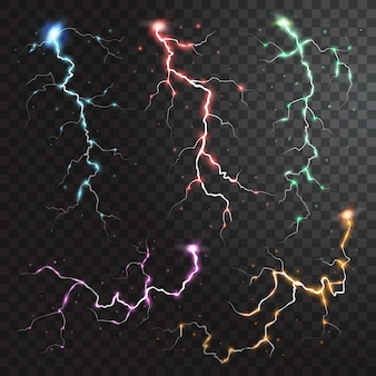 Thunderstorm realistic elements with colored flashes of lightnings sparks on black half transparent background isolated  illustration