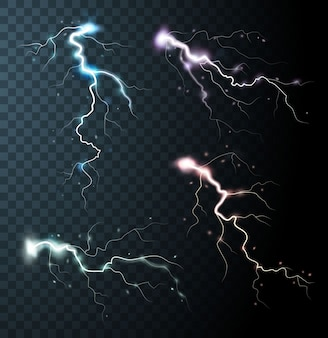 Thunderstorm realistic elements with colored flashes of lightnings  sparks