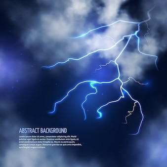 Thunderstorm with clouds and lightnings. thunderbolt flash, electricity energy. vector illustration abstract background