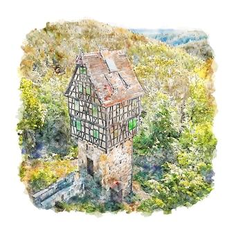 Тюрингия германия акварельный эскиз рисованной иллюстрации