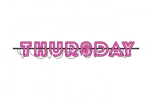 Thursday label in neon light isolated icon