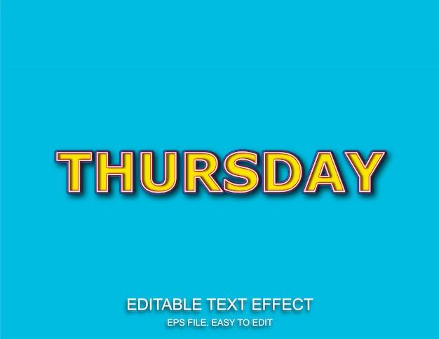 Thursday pop art text effect