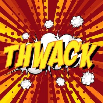 Thwack wording comic speech bubble on burst