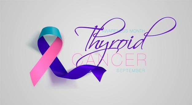甲状腺がん啓発書道ポスターデザインリアルなティールとピンクとブルーのリボン
