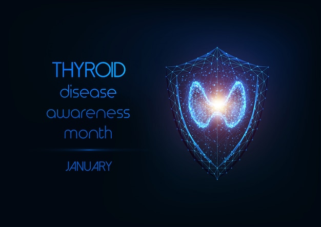 Thyroid disease awareness month banner with thyroid gland and protection shield on dark blue.