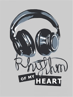 Thythm of mu heart slogan with headphone
