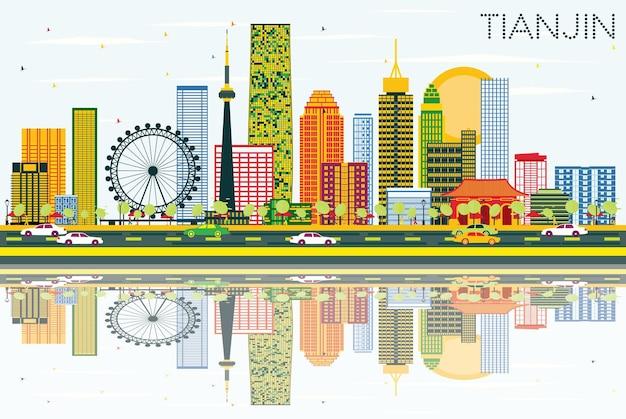 Горизонт тяньцзиня с цветными зданиями, голубым небом и отражениями. векторные иллюстрации. деловые поездки и концепция туризма с современными зданиями. изображение для презентационного баннера и веб-сайта.