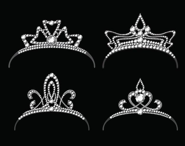 다이아몬드 벡터 세트와 왕관. 보석이 달린 여왕 왕실 또는 공주 왕관
