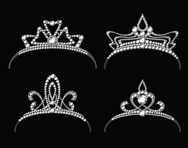 Tiaras with diamond vector set. queen royal or princess crown with jewelry