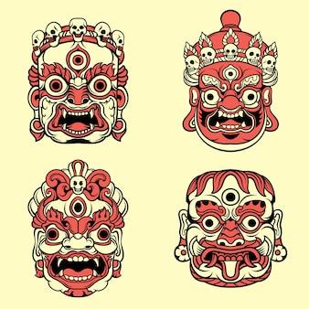 Tibetan mask vector illustration set