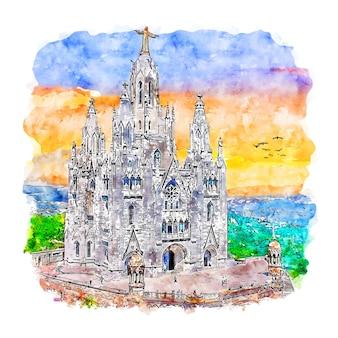 Тибидабо барселона акварельный эскиз рисованной иллюстрации