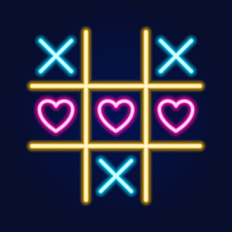 Tic tac toe game, neon linear outline icon