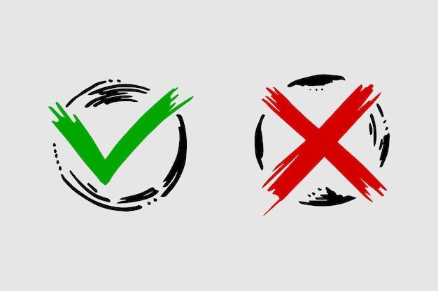 黒の標識にチェックマークを付けて交差させます。灰色のチェックマークokとxアイコン、白い背景で隔離。シンプルなマークのグラフィックデザイン。投票、決定、ウェブ用の丸記号yesおよびnoボタン。ベクトルイラスト。