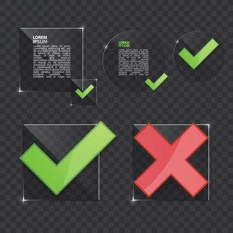 目盛りとクロスサイン。緑のチェックマークと赤のxアイコン、透明なベクトル図で分離