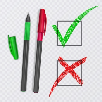 Отметьте и перекрестные знаки. зеленая галочка ок и красные значки x, изолированные. иллюстрация