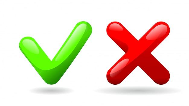 Тик и кросс голосования символ.