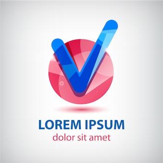 Отметьте синий и красный логотип на белом