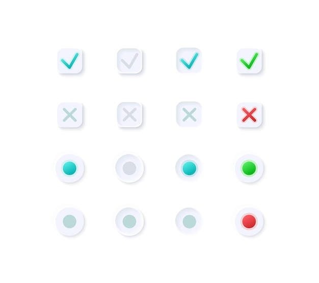 Tick and cross buttons ui elements kit