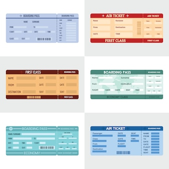 Ticket airline banner horizontal set