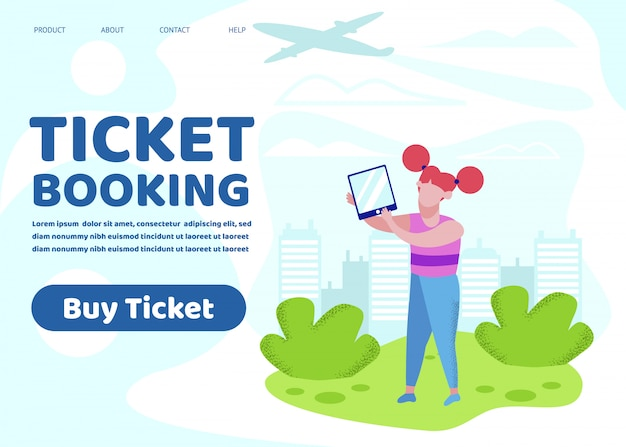 Ticket booking banner, little girl hold tablet pc