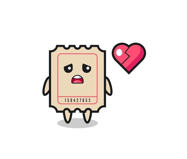 Иллюстрация шаржа билета - разбитое сердце, милый стиль дизайна для футболки, стикер, элемент логотипа