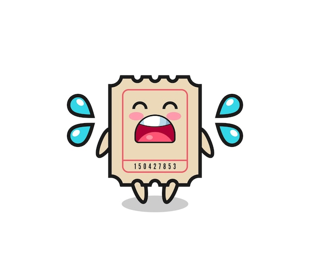Ticket cartoon illustration with crying gesture , cute style design for t shirt, sticker, logo element