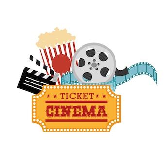 Ticket cinema reel pop corn and clapper